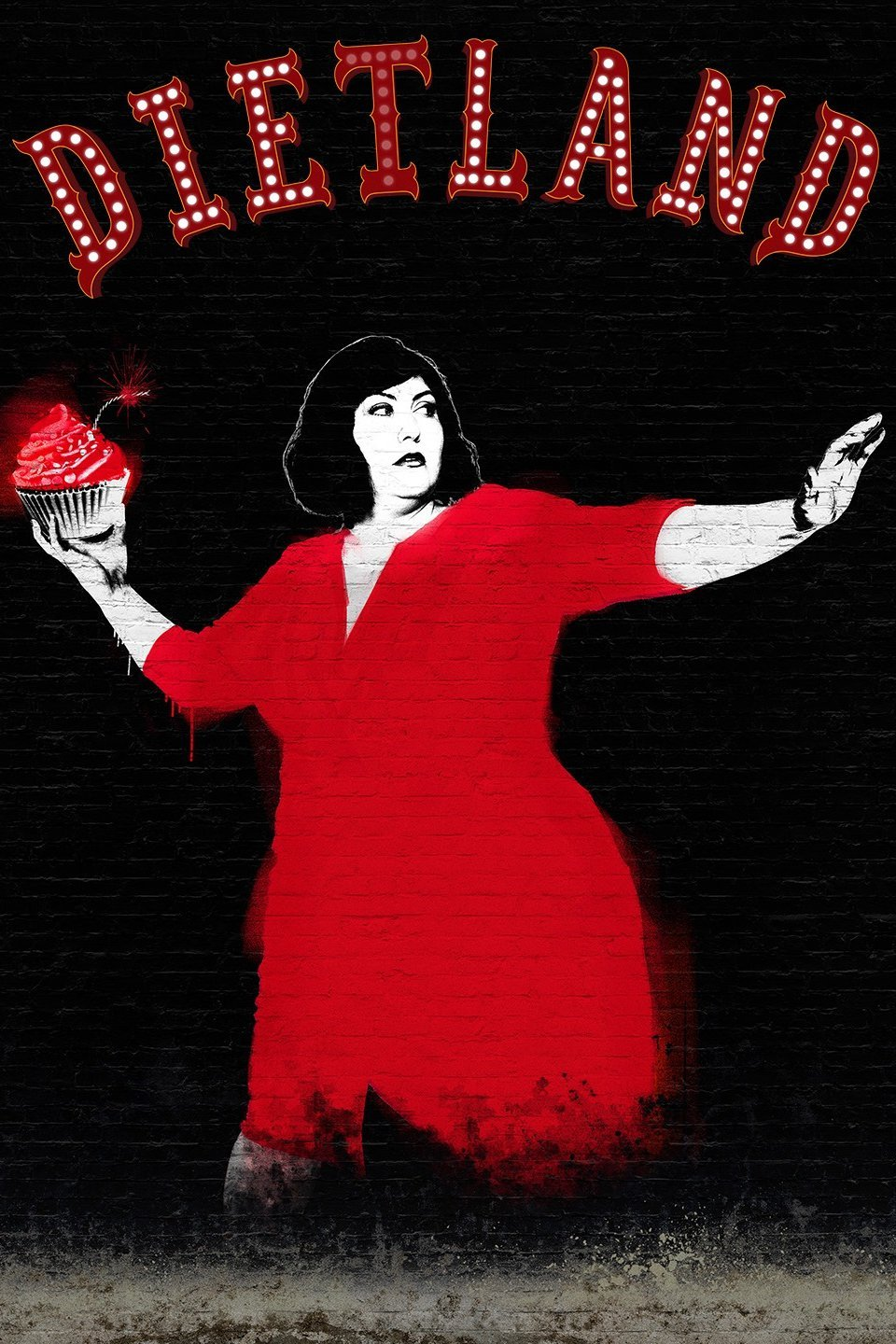 AMC promotional poster for Dietland features a brick wall painted with representation of series lead, Joy Nash, throwing a cupcake bomb. Dietland is so good!