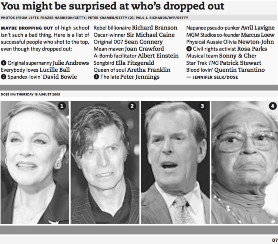 Famous high school dropouts (apparently a news story?)