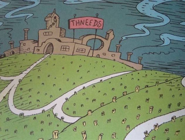 "Image from The Lorax depicts the decimated landscape around the ""thneed"" factory."